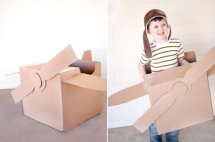 DIY project for kids - cardboard airplane finished product