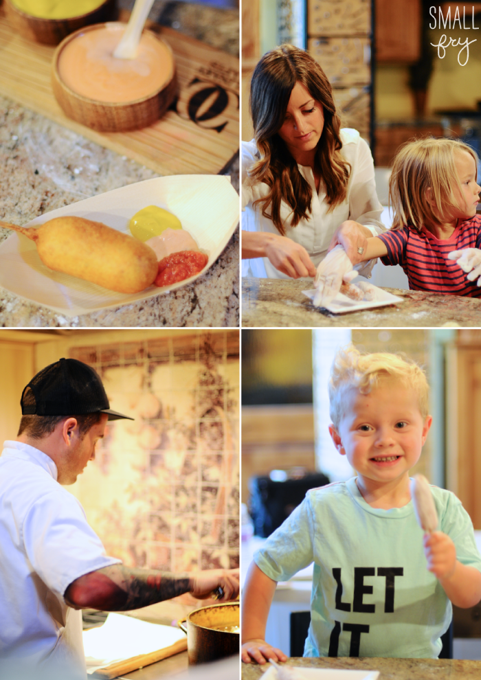 little foodie | corn dog & fixings