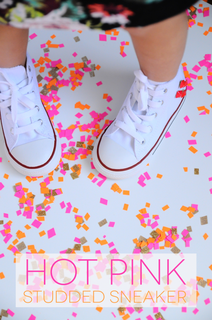 hot pink girls studded sneakers
