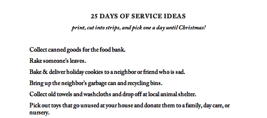 25 Days of Service Ideas