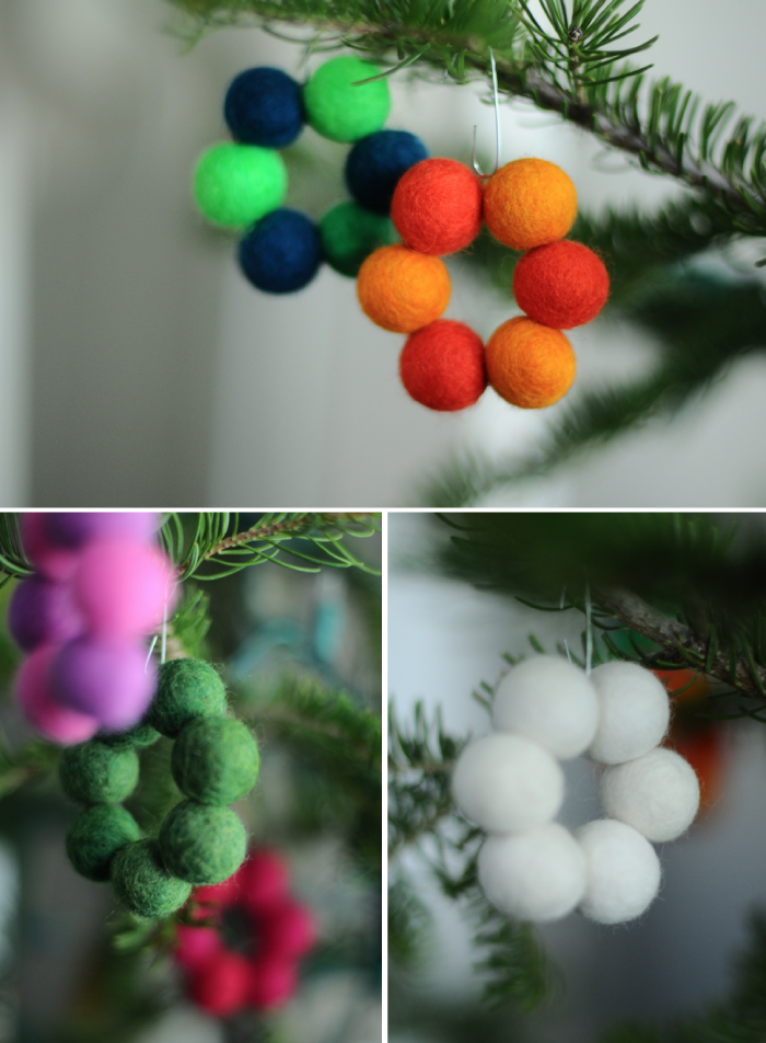 felt ball christmas ornament wreaths