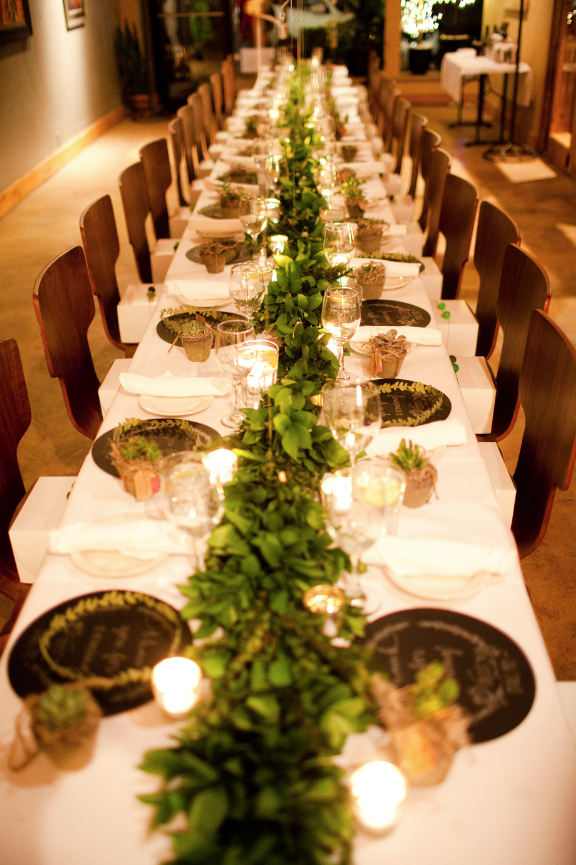 Black, White and Green Dinner Party
