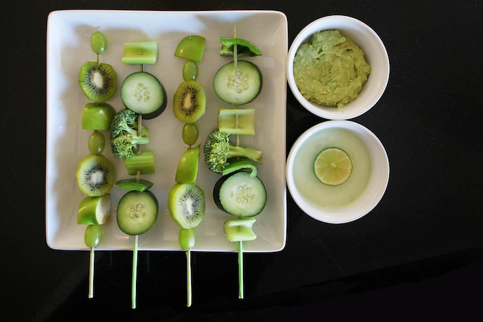 Fruit and Veggie St. Patrick's Day Skewers with Avocado Ranch and Key Lime Pie dips!