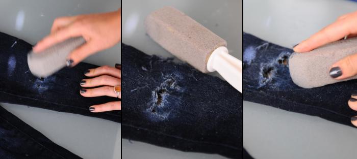 DIY Destroyed Jeans