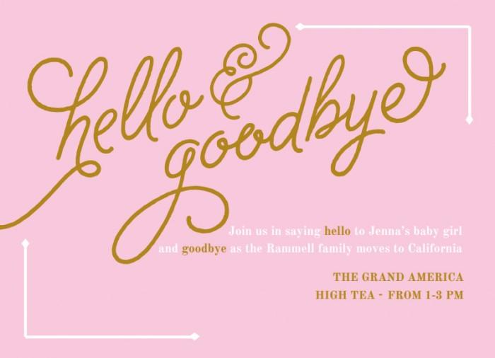 Hello + Goodbye Shower invite