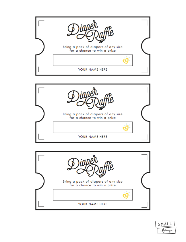 photograph regarding Free Printable Diaper Raffle Tickets called Diaper Raffle Printable Very low Fry
