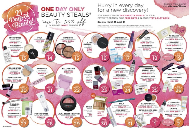 ulta 21 days sale
