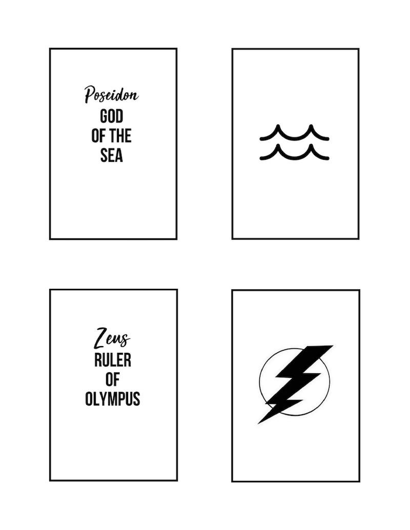 Greek Gods Matching Game Printable