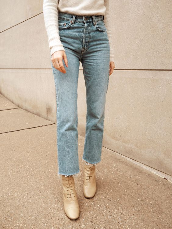 straight leg jean + lace up boot